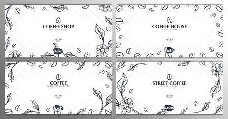 Set of Coffee Sketch banners with coffee beans and leaves for poster or another template design.