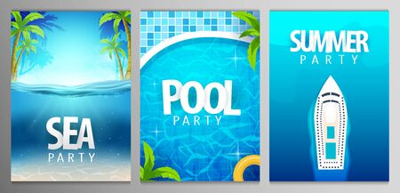 Summer posters. Sea, pool and summer party. Vector illustration with deep underwater ocean scene. 写真素材 - 130032955