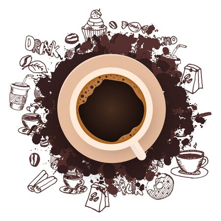 Coffee ads with cup and hand draw doodle background.