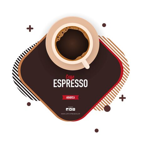 Coffee ads with cup. Fresh Espresso. Top view. 向量圖像