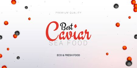 Caviar banner. Delicious seafood background. Caviar vector illustration. Natural and healthy luxury food. Design for fish menu. Vector Illustration.