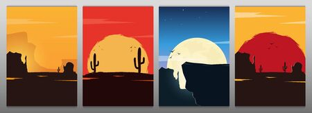 Set of Wild West landscapes with mountains and cactus. Sunset at the Texas. Vector illustration Illustration
