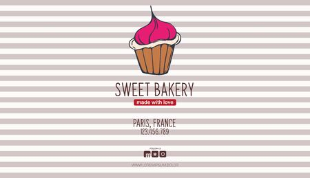 Cupcakes and Cakes banner. Bakery and pastry. Ilustracja