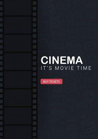 Cinema banner film strip. Hand draw doodle background.