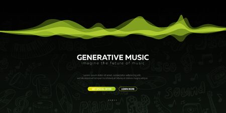 Generative Music. Music created by AI. Vector Illustration. Ilustrace