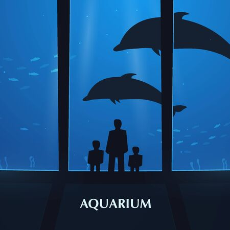 Big Aquarium or Dolphinarium With dolphin. People with children watching the underwater world. Illustration