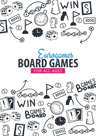 Board Games banners. For all Ages. Hand draw doodle background. Vector illustration.