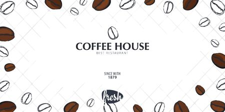 Colorful Coffee Sketch banner with coffee beans and leaves for poster or another template design.  イラスト・ベクター素材