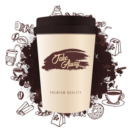 Take Away Coffee ads with cup and hand draw doodle background.  イラスト・ベクター素材