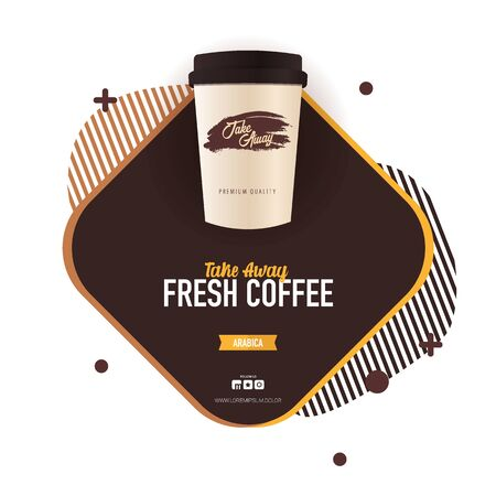 Take Away Coffee ads with cup. Fresh Espresso. Top view.