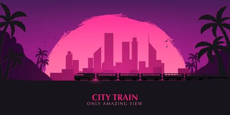 Travel by Train. Railway with beautiful outdoor landscape. Travel Concept Illustration