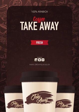 Take Away Coffee ads with cup and hand draw doodle background  イラスト・ベクター素材