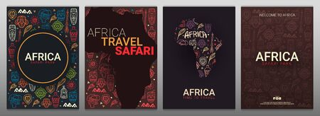 Set of Africa banners. Safari Park. Colorful illustration with hand draw doodle Background  イラスト・ベクター素材