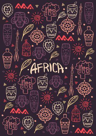 Dibujar a mano garabatos de la palabra África. Ilustración colorida. Fondo con muchos objetos Ilustración de vector