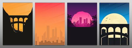 Set of banners. Railway bridge with beautiful outdoor and city landscape. Travel Concept Illustration