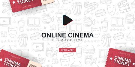 Online Cinema banner with tickets. Hand draw doodle background. Иллюстрация