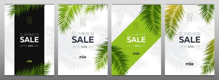 Set of Sale banners with Summer Tropical palm leaves. Exotic palms tree. Floral Background.  イラスト・ベクター素材
