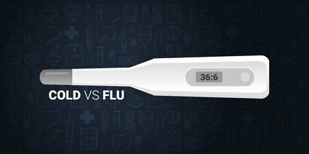 Cold VS Flu banner with medicine thermometer. Medical hand draw background. Ilustrace