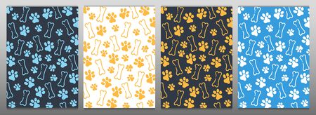 Pet Hand draw doodle background with cat or dog paws. Фото со стока - 130031085