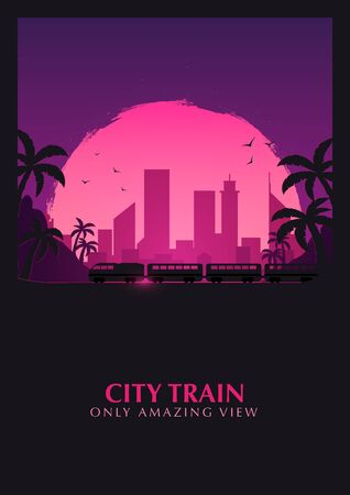 Travel by Train. Railway with beautiful outdoor landscape. Travel Concept.