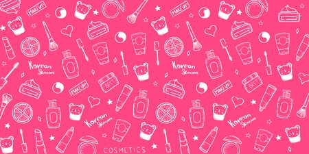 Korean cosmetics. K-Beauty banner with hand draw doodle background. Skincare and Makeup. Vector Illustration.