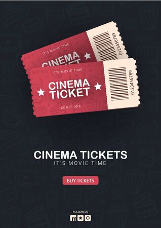 Cinema Tickets Banner. Hand draw doodle background.
