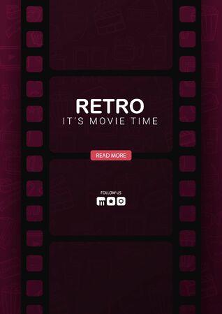 Retro Cinema banner with film strip. Hand draw doodle background. Иллюстрация