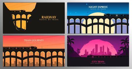 Conjunto de banners de viaje en tren. Puente ferroviario con paisaje al aire libre. Concepto de viaje.