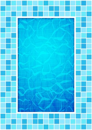 Swimming pool bottom caustics ripple and flow with waves background. Texture of water surface. Overhead view. Vector illustration. Ilustracja