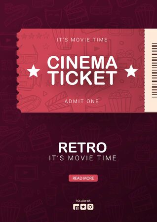 Retro Cinema banner with tickets. Hand draw doodle background.