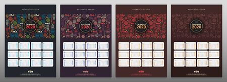 Set of Calendars template for 2020 year with African motive. Doodle elements.