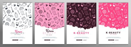 Korean cosmetics. Set of K-Beauty banners with hand draw doodle backgrounds. Skincare and Makeup. Translation - Korean Cosmetics. Vector Illustration.