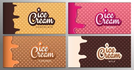 Set of Ice Cream banners with wafer background. Cafe menu, ice cream dessert poster, food packaging design.