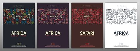 Set of Africa banners. Safari Park. Colorful illustration with hand draw doodle Background.  イラスト・ベクター素材