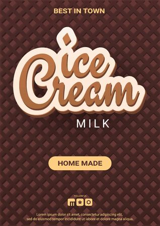 Ice Cream banner with wafer background. Cafe menu, ice cream dessert poster, food packaging design.