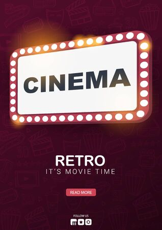 Retro Cinema banner. Theatre cinema Sign. Hand draw doodle background.