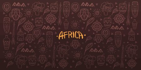 Hand draw doodles of Africa word. Colorful illustration. Background with lots of objects. Stock fotó - 130030084