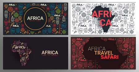 Set of Africa banners. Safari Park. Colorful illustration with hand draw doodle Background. Иллюстрация