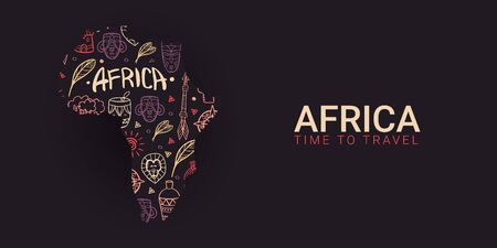 Africa banner. Safari Park. Colorful illustration with hand draw doodle Background.