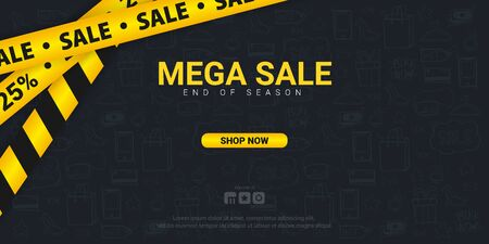 Sale banner with yellow Caution lines. Hand draw doodle icons on the background Archivio Fotografico - 129795690