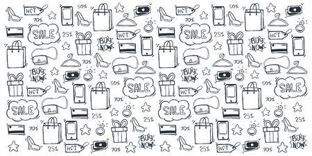 Sale background with hand draw doodle icons Archivio Fotografico - 129795691