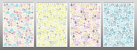 Set of Hand draw Kids doodle backgrounds. Objects from a childs life. Stock Illustratie