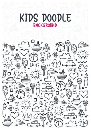 Hand draw Kids doodle background. Objects from a childs life