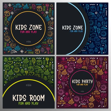 Set of Hand draw Kids doodle backgrounds. Objects from a childs life. 일러스트