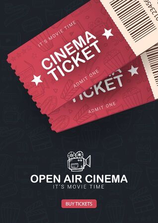 Open Air Cinema banner with tickets. Hand draw doodle background.
