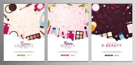 Korean flat cosmetics. Set of K-Beauty banners with hand draw doodle backgrounds. Skincare and Makeup. Translation - Korean Cosmetics. Vector Illustration.