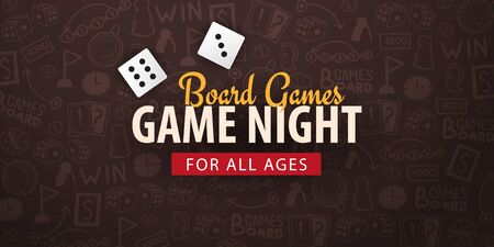 Board Games banner with dices. Hand draw doodle background. Vector illustration. Иллюстрация