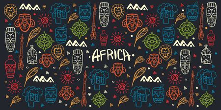 Hand draw doodles of Africa word. Colorful illustration. Background with lots of objects