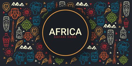 Africa banner. Safari Park. Colorful illustration with hand draw doodle Background Иллюстрация