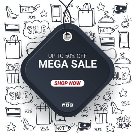 Sale banner with Price tag and hand draw doodle icons on the background